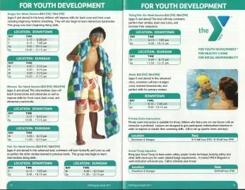 Inside of the YMCA program guide